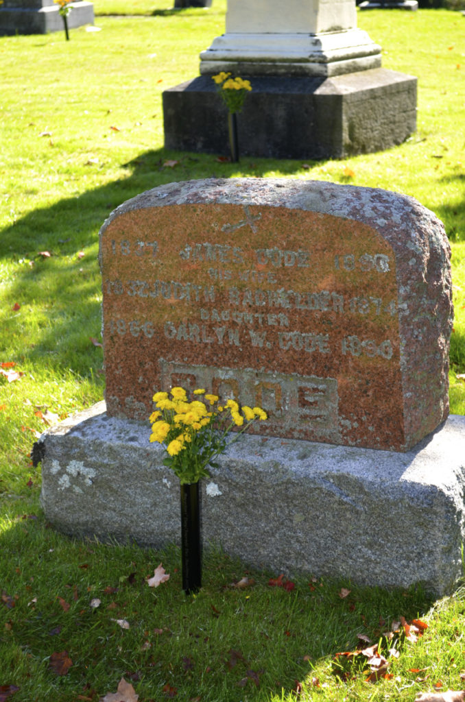 Headstone for James Code and Carlyn W. Code